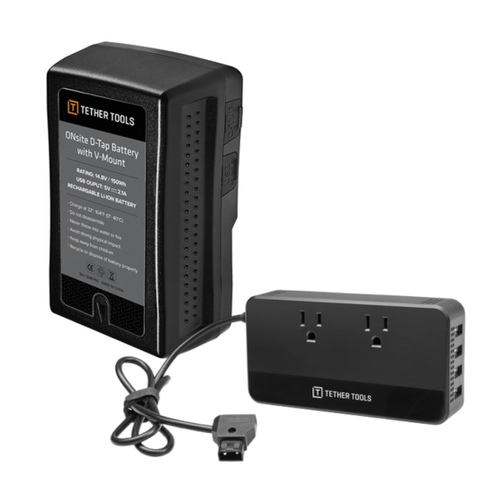 TETHERTOOLS Onsite D-Tap V-Mount Battery with 110V AC Power Supply
