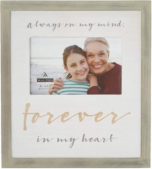 """MALDEN """"Forever In My Heart"""" Wood Frame w/ Silkscreen (Holds 1 4""""x6"""")"""