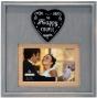 "MALDEN ""The Happy Couple"" Gray Wood w/ Burlap Mat 4""x6"" / 5""x7"" Frame"