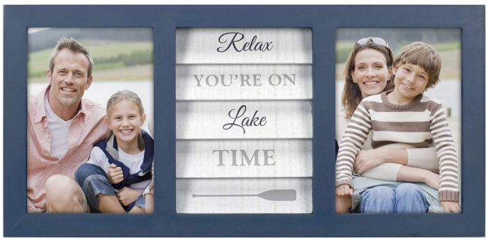 """MALDEN """"Relax You're on Lake Time"""" 2-Opening 5""""x7"""" Collage Frame"""
