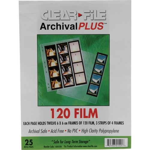 CLEARFILE Neg. Pages 25 pack 12 6x6   3 strips vertically