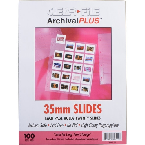 CLEARFILE Slide Pages 100 pack Holds 20 35mm slides  top load