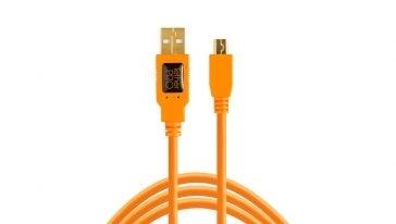 TETHERTOOLS TetherPro USB 2.0 A to Mini B 8 pin 15' orange cable